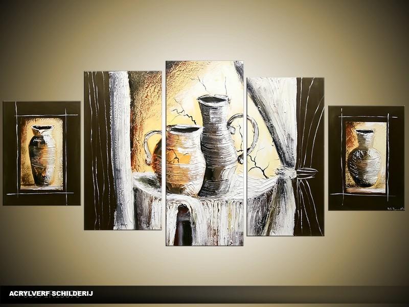 Acryl Schilderij Vazen | Bruin, Grijs | 150x70cm 5Luik Handgeschilderd
