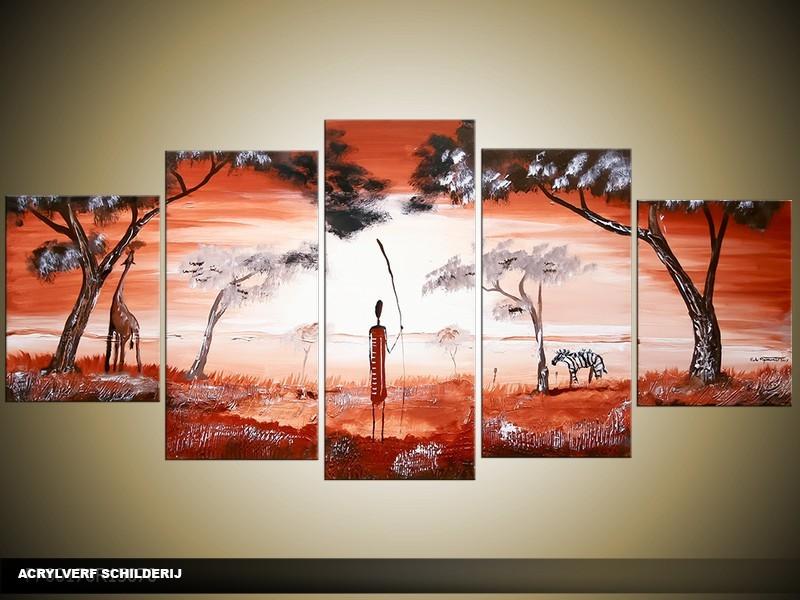 Acryl Schilderij Natuur | Rood, Wit | 150x70cm 5Luik Handgeschilderd