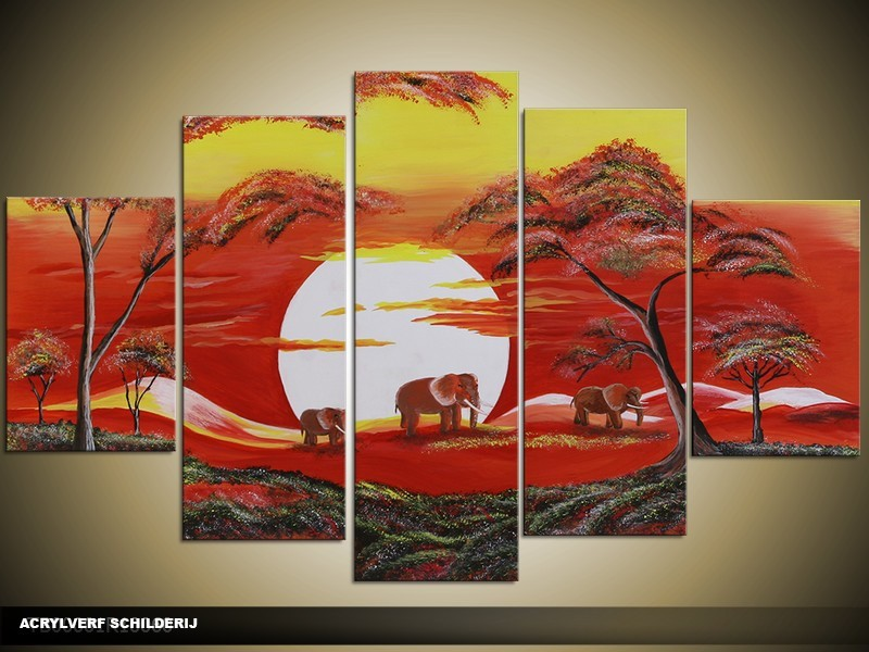 Acryl Schilderij Afrika | Rood, Geel | 100x60cm 5Luik Handgeschilderd