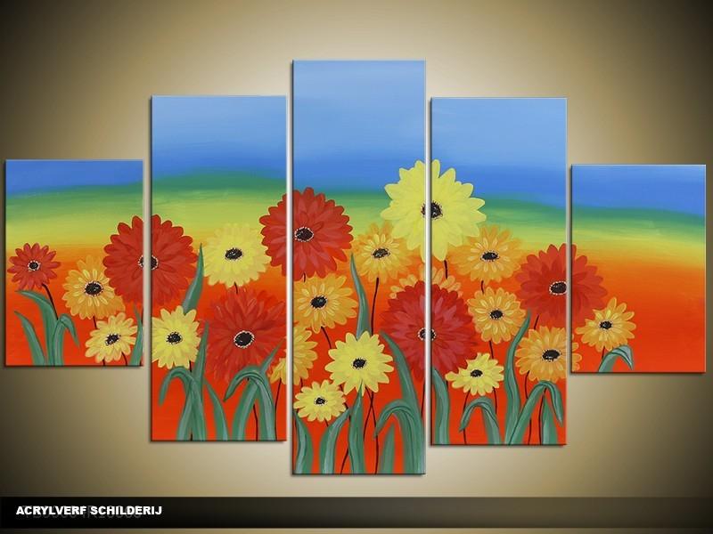 Acryl Schilderij Kleurrijk | Blauw, Rood, Geel | 100x60cm 5Luik Handgeschilderd