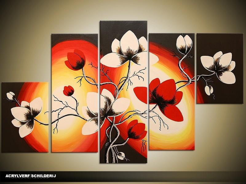Acryl Schilderij Magnolia | Rood, Geel, Zwart | 100x60cm 5Luik Handgeschilderd