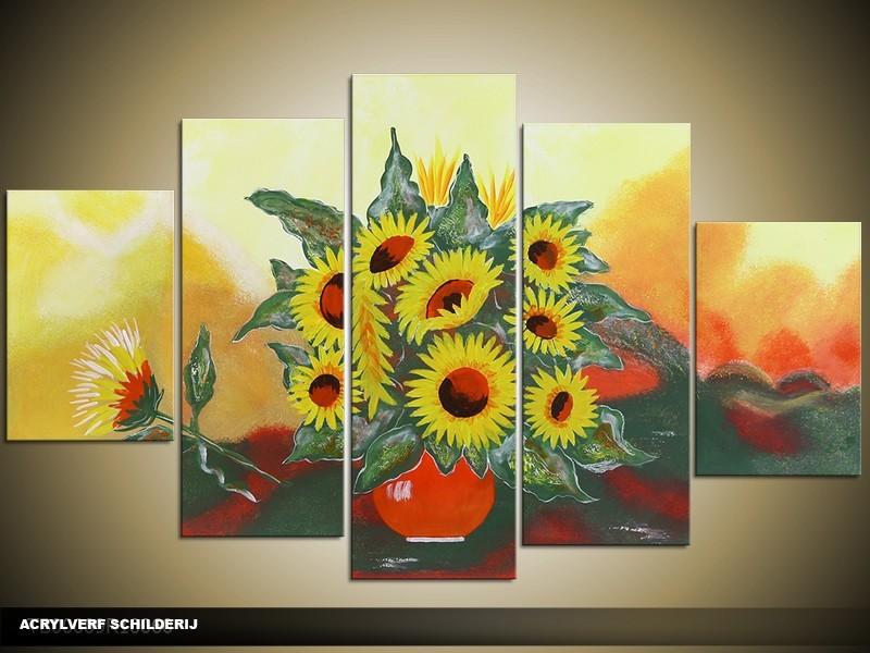 Acryl Schilderij Zonnebloem | Geel, Groen | 100x60cm 5Luik Handgeschilderd
