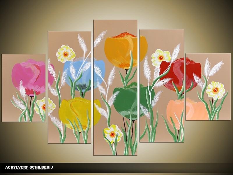 Acryl Schilderij Tulp | Blauw, Rood, Groen | 100x60cm 5Luik Handgeschilderd