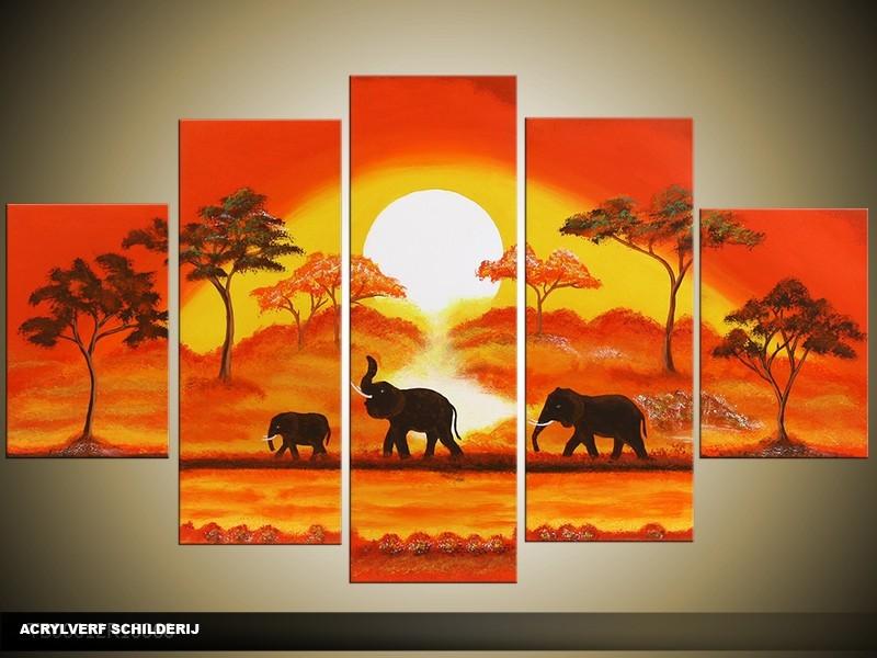 Acryl Schilderij Natuur | Oranje, Geel, Bruin | 100x60cm 5Luik Handgeschilderd