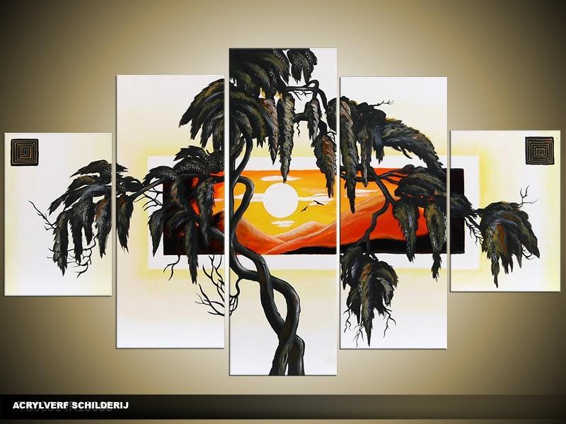 Acryl Schilderij Modern | Zwart, Oranje, Crème | 100x60cm 5Luik Handgeschilderd