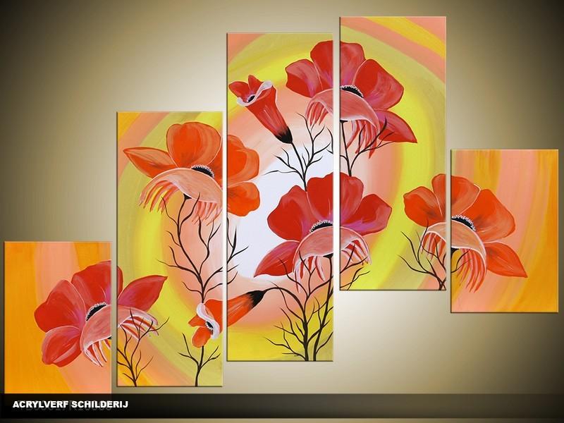 Acryl Schilderij Lente | Geel, Rood | 100x60cm 5Luik Handgeschilderd