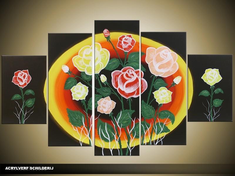 Acryl Schilderij Roos | Zwart, Geel, Oranje | 100x60cm 5Luik Handgeschilderd