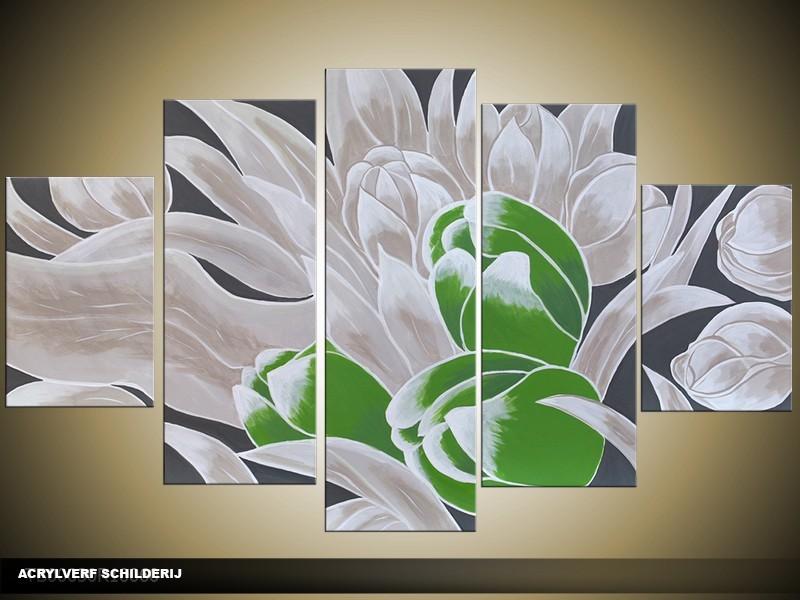 Acryl Schilderij Tulp | Groen, Grijs | 100x60cm 5Luik Handgeschilderd