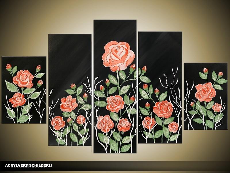 Acryl Schilderij Roos | Zwart, Roze, Groen | 100x60cm 5Luik Handgeschilderd