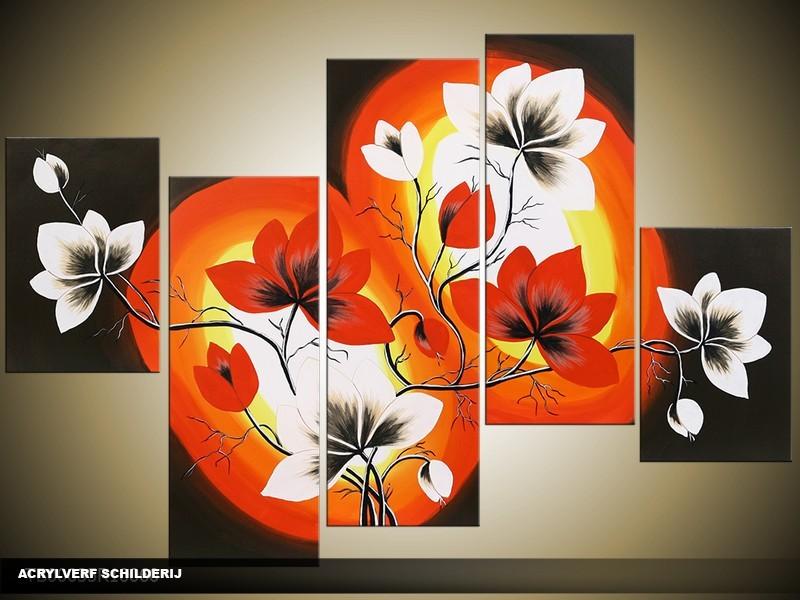 Acryl Schilderij Magnolia | Zwart, Oranje, Rood | 100x60cm 5Luik Handgeschilderd