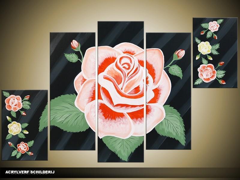 Acryl Schilderij Roos | Roze, Zwart, Groen | 100x60cm 5Luik Handgeschilderd