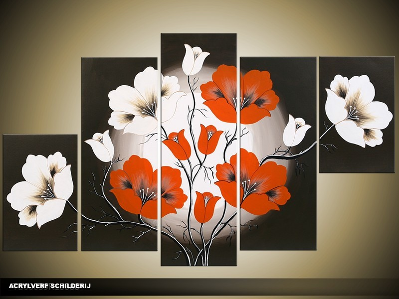 Acryl Schilderij Modern | Rood, Zwart, Wit | 100x60cm 5Luik Handgeschilderd