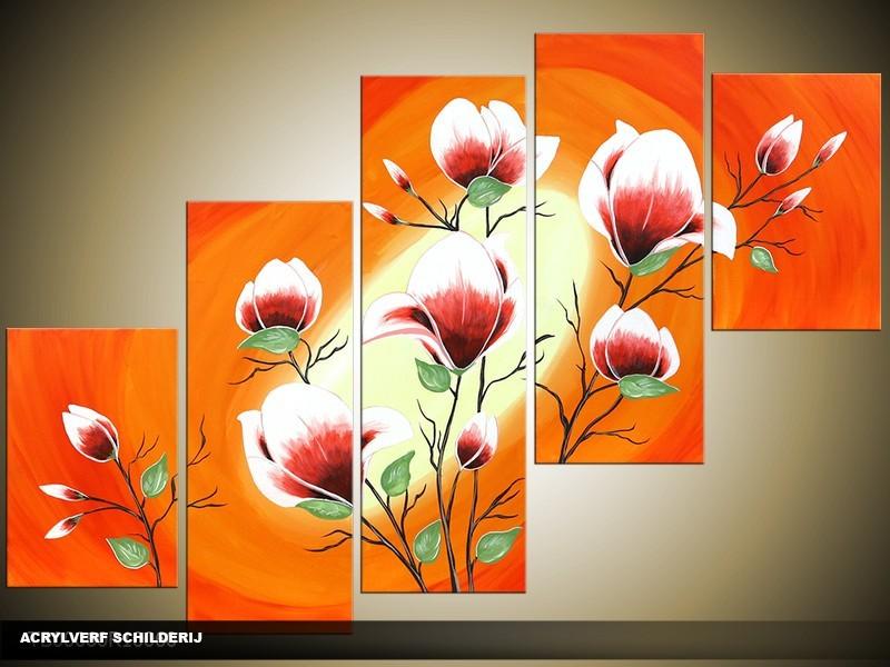 Acryl Schilderij Magnolia | Oranje, Geel, Roze | 100x60cm 5Luik Handgeschilderd