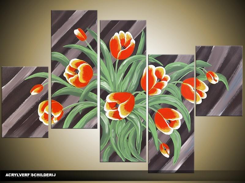 Acryl Schilderij Tulp | Grijs, Rood, Groen | 100x60cm 5Luik Handgeschilderd