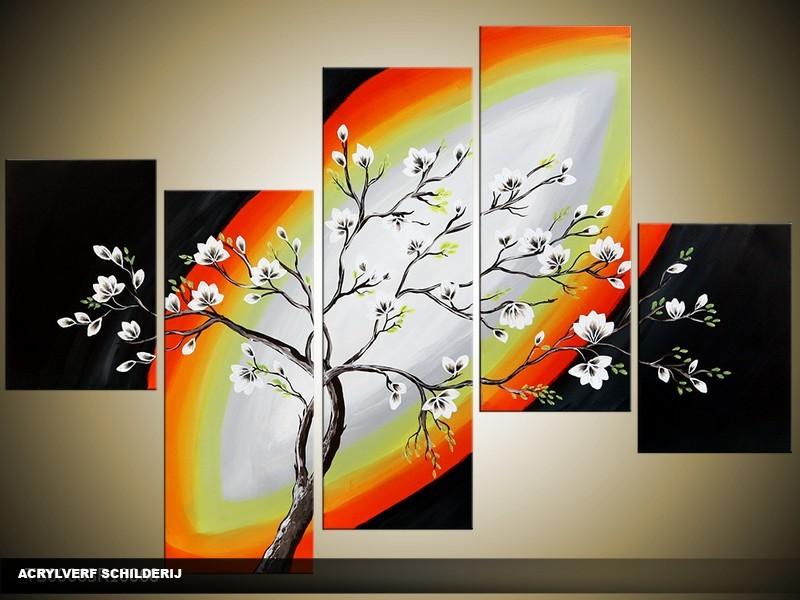 Acryl Schilderij Modern | Zwart, Geel, Oranje | 100x60cm 5Luik Handgeschilderd