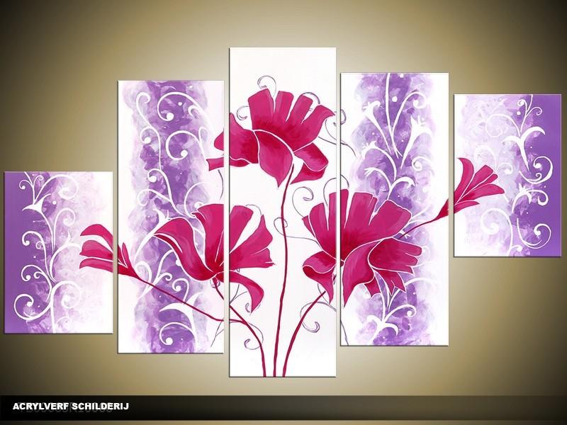 Acryl Schilderij Modern | Paars, Roze, Wit | 100x60cm 5Luik Handgeschilderd