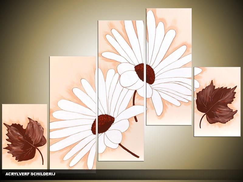 Acryl Schilderij Modern | Crème, Wit, Bruin | 100x60cm 5Luik Handgeschilderd
