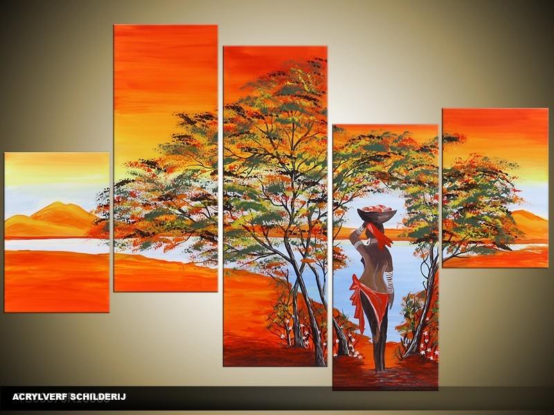Acryl Schilderij Natuur | Oranje, Geel | 100x60cm 5Luik Handgeschilderd