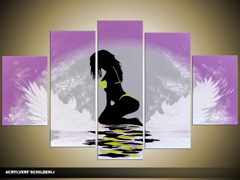 Acryl Schilderij Kunst, Sexy | Paars, Grijs, Wit | 100x60cm 5Luik Handgeschilderd