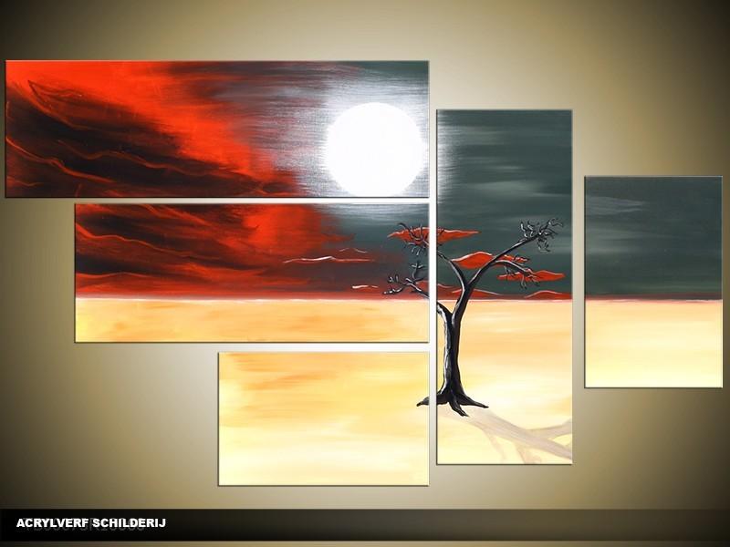 Acryl Schilderij Modern | Crème, Grijs, Rood | 100x60cm 5Luik Handgeschilderd