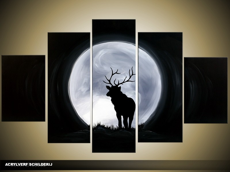 Acryl Schilderij Modern | Zwart, Grijs | 100x60cm 5Luik Handgeschilderd