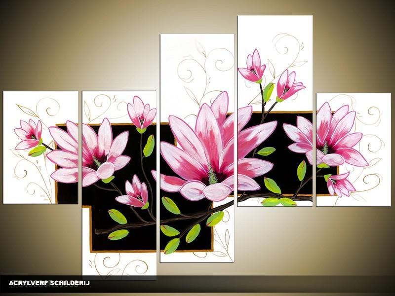 Acryl Schilderij Modern | Roze, Wit, Zwart | 100x60cm 5Luik Handgeschilderd