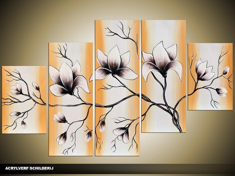 Acryl Schilderij Magnolia | Bruin, Grijs | 100x60cm 5Luik Handgeschilderd
