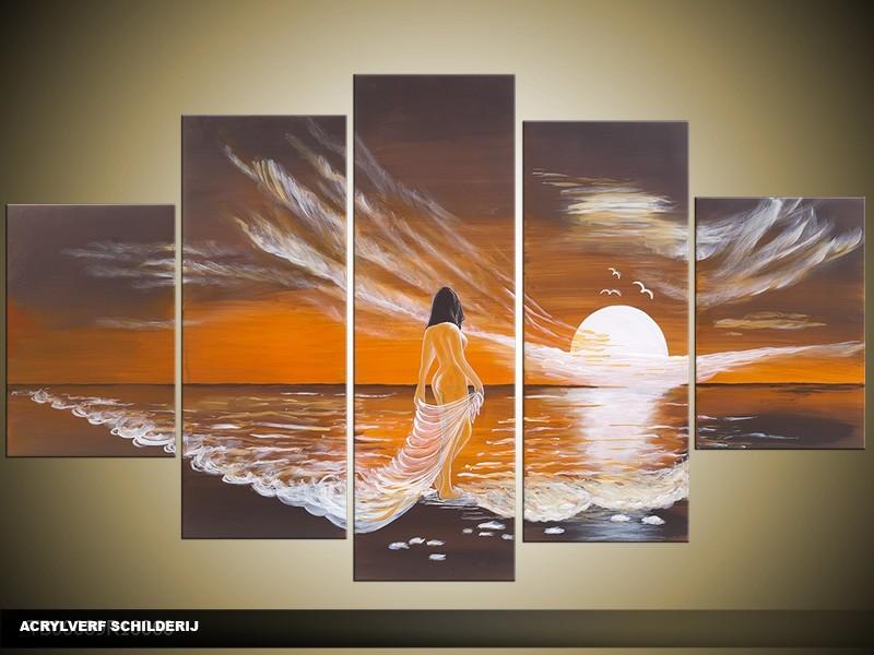Acryl Schilderij Modern | Bruin, Grijs | 100x60cm 5Luik Handgeschilderd
