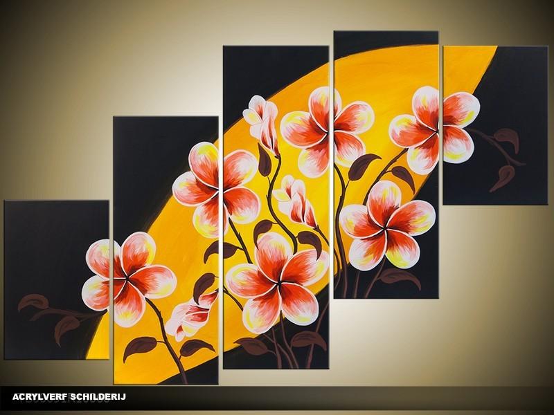 Acryl Schilderij Modern | Oranje, Zwart, Rood | 100x60cm 5Luik Handgeschilderd
