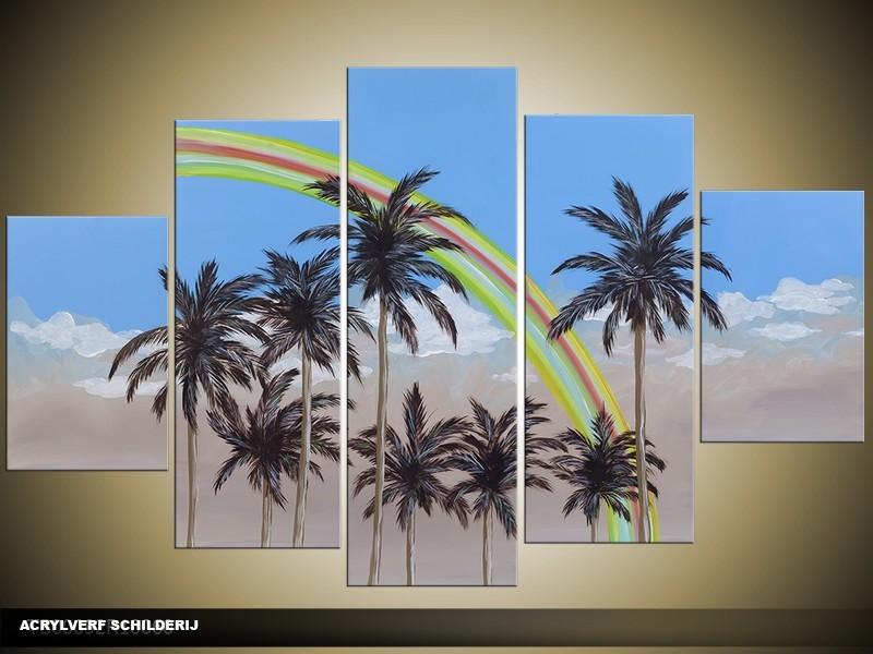 Acryl Schilderij Palm | Blauw, Grijs, Groen | 100x60cm 5Luik Handgeschilderd