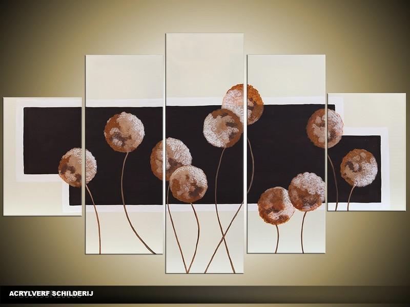 Acryl Schilderij Modern | Bruin, Crème, Zwart | 100x60cm 5Luik Handgeschilderd