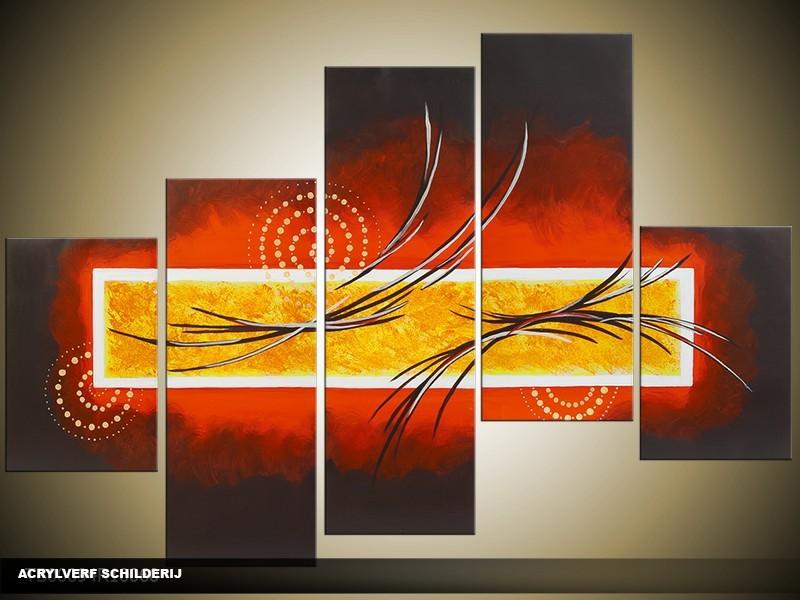 Acryl Schilderij Modern | Rood, Bruin, Geel | 100x60cm 5Luik Handgeschilderd