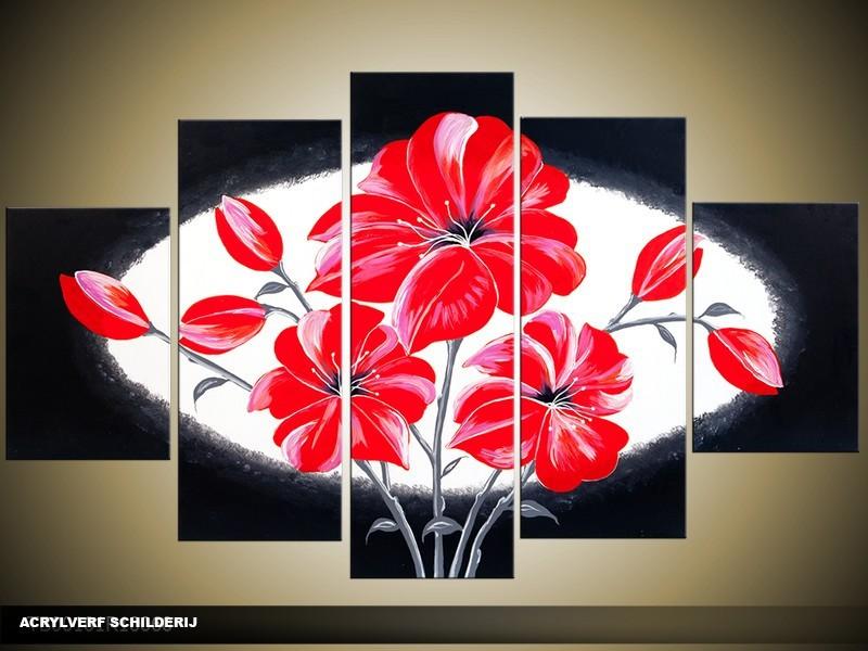Acryl Schilderij Modern | Rood, Wit, Zwart | 100x60cm 5Luik Handgeschilderd