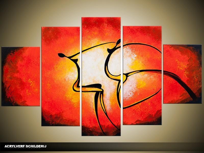 Acryl Schilderij Modern | Rood, Oranje, Geel | 100x60cm 5Luik Handgeschilderd