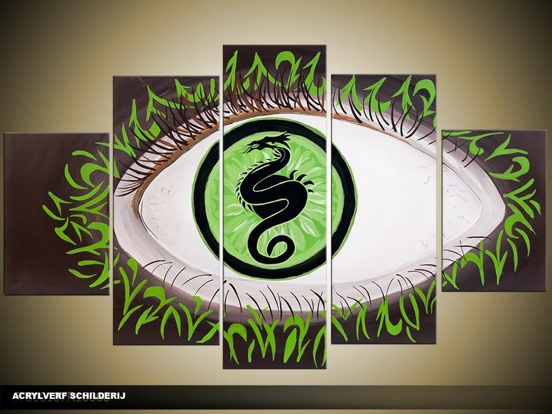 Acryl Schilderij Modern | Groen, Wit | 100x60cm 5Luik Handgeschilderd