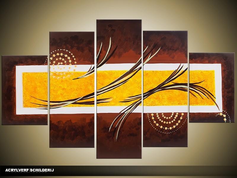Acryl Schilderij Modern | Bruin, Geel | 100x60cm 5Luik Handgeschilderd