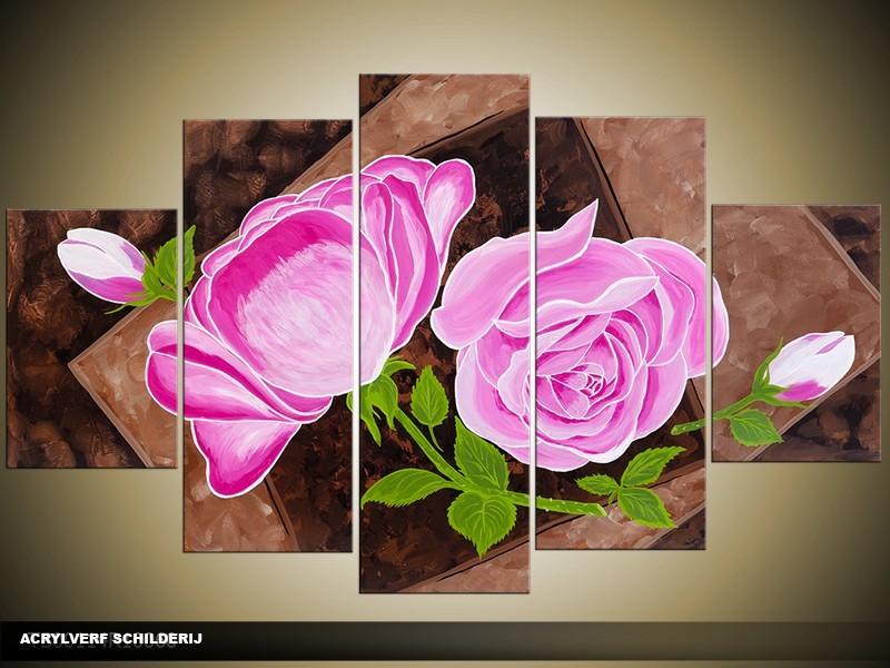 Acryl Schilderij Roos | Roze, Bruin, Groen | 100x60cm 5Luik Handgeschilderd