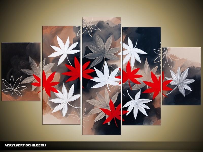 Acryl Schilderij Modern | Rood, Grijs, Wit | 100x60cm 5Luik Handgeschilderd