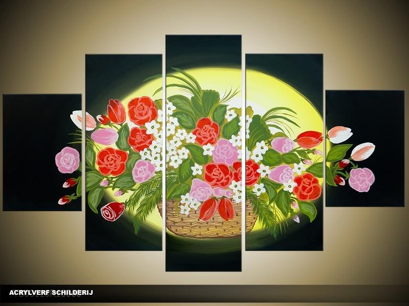 Acryl Schilderij Woonkamer | Zwart, Geel, Groen | 100x60cm 5Luik Handgeschilderd