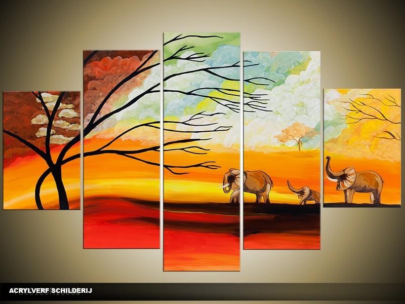 Acryl Schilderij Natuur | Oranje, Geel, Rood | 100x60cm 5Luik Handgeschilderd