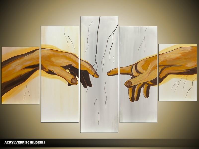 Acryl Schilderij Kunst, Sexy | Geel, Grijs, Bruin | 100x60cm 5Luik Handgeschilderd