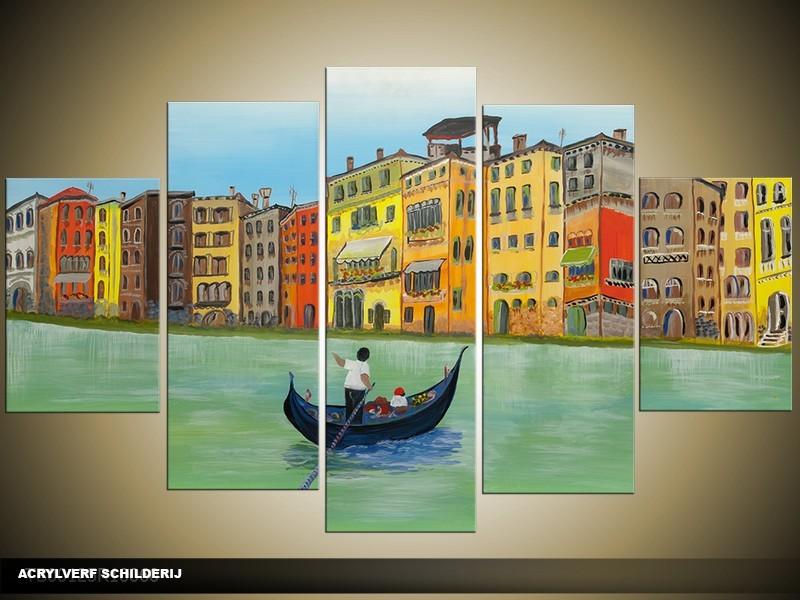 Acryl Schilderij Venetie | Groen, Geel | 100x60cm 5Luik Handgeschilderd