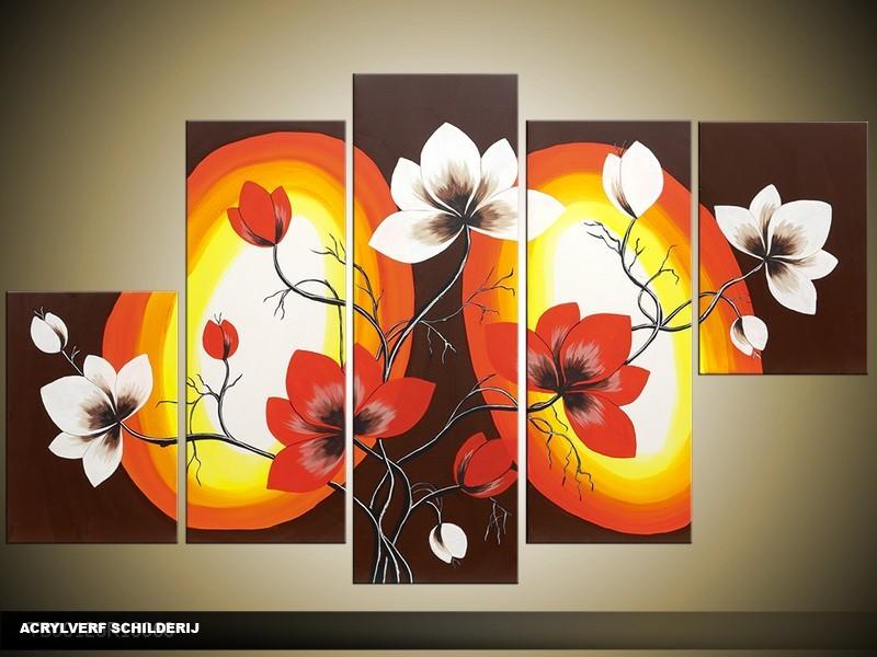 Acryl Schilderij Magnolia | Bruin, Rood, Geel | 100x60cm 5Luik Handgeschilderd