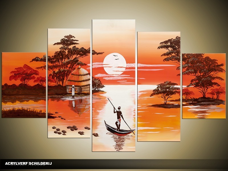 Acryl Schilderij Natuur | Bruin, Oranje | 100x60cm 5Luik Handgeschilderd