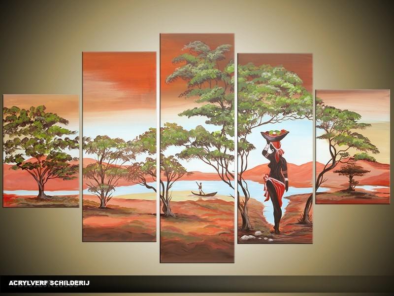 Acryl Schilderij Natuur | Bruin, Groen | 100x60cm 5Luik Handgeschilderd