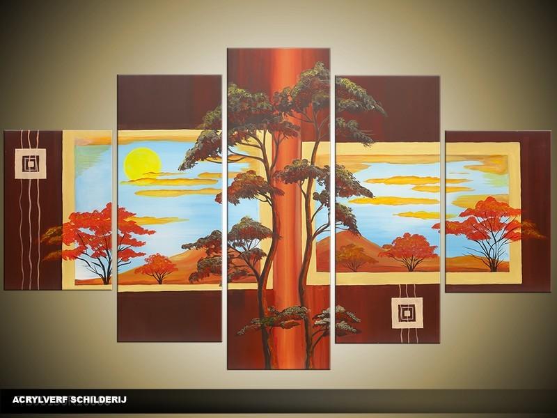 Acryl Schilderij Natuur | Bruin, Geel, Blauw | 100x60cm 5Luik Handgeschilderd