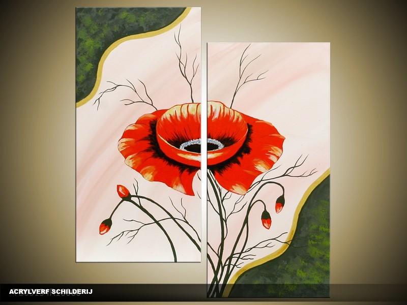 Acryl Schilderij Klaproos | Rood, Crème, Groen | 100x60cm 5Luik Handgeschilderd