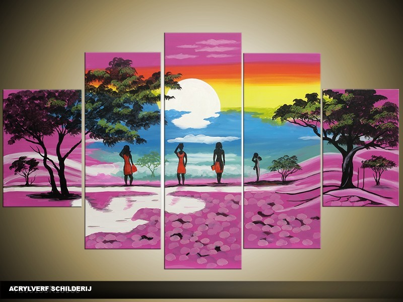 Acryl Schilderij Natuur | Paars, Blauw, Geel | 100x60cm 5Luik Handgeschilderd