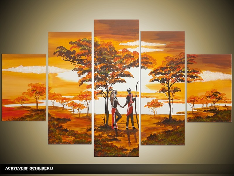 Acryl Schilderij Natuur | Bruin, Crème, Oranje | 100x60cm 5Luik Handgeschilderd
