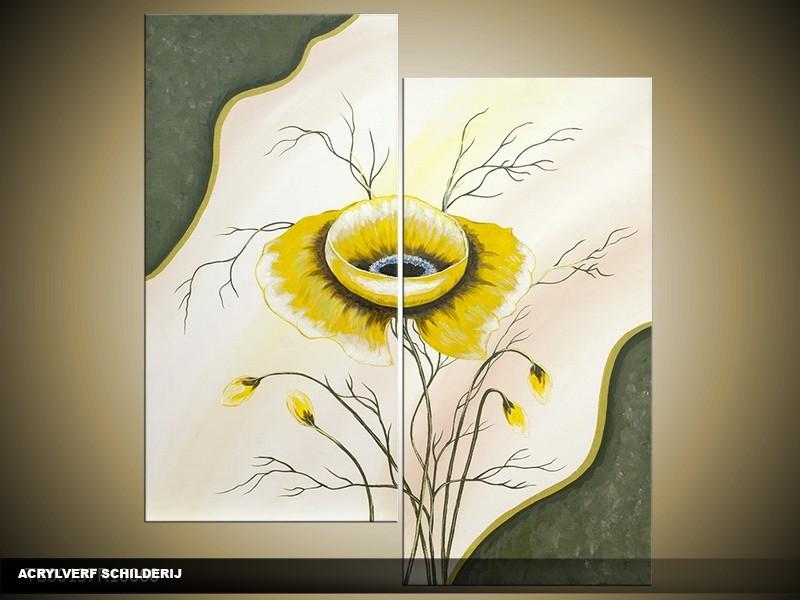 Acryl Schilderij Modern | Geel, Crème | 100x60cm 5Luik Handgeschilderd